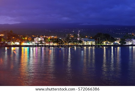 View of the Kona Oceanside at night in Hawaii #572066386