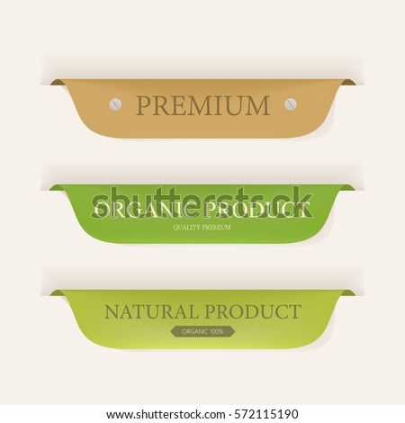 natural label and organic label green color and leather. vintage banner and badges design. Royalty-Free Stock Photo #572115190