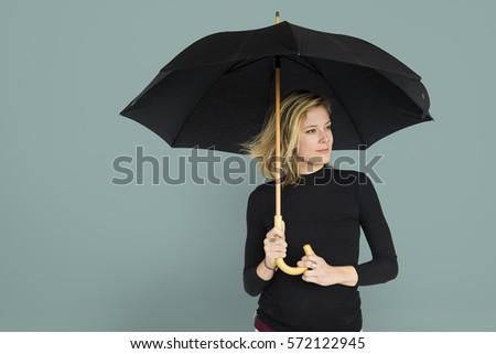 Caucasian Lady Black Umbrella Concept #572122945