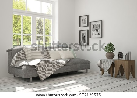 White room with sofa and green landscape in window. Scandinavian interior design. 3D illustration #572129575