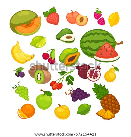 Fresh fruits icons set. Collection of vector sweet vegetarian food illustration: pear and strawberry, orange, apple and banana, peach, lemon and watermelon, pineapple and papaya. Healthy symbols #572154421