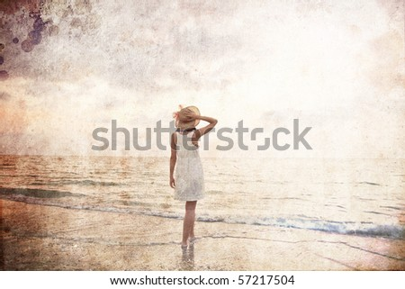Young beautiful girl on the beach at sunrise. Photo in old color image style. #57217504