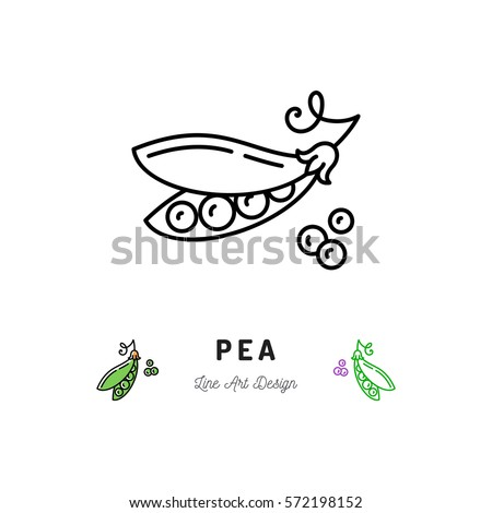 Vector Pea icon Vegetables logo, Peas in a pod. Thin line art design, outline illustration Royalty-Free Stock Photo #572198152