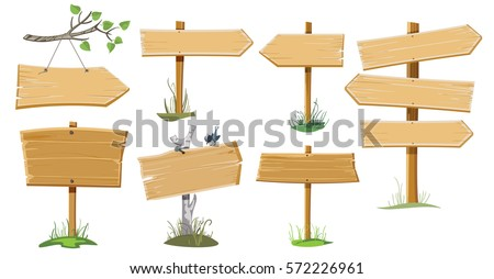 A set of several wooden street signs Royalty-Free Stock Photo #572226961