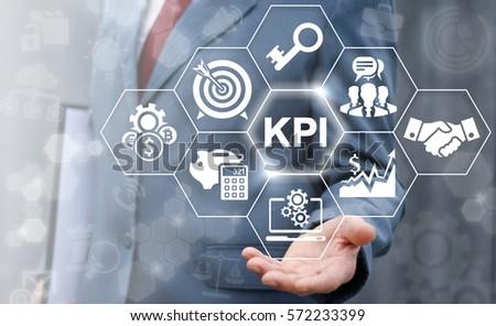 Key performance indicator business plan web computer concept. Businessman offer KPI success conception #572233399