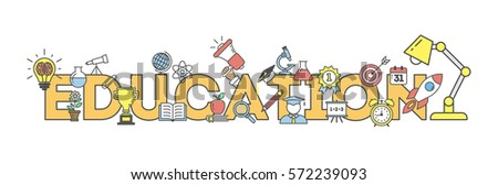 Eduation illustartion concept on white background. Word with many icons as target, lamp, medal, apple and more. #572239093