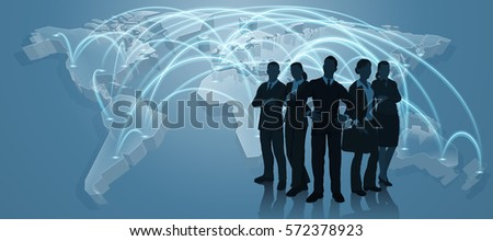 World map flight paths logistics background concept with business team #572378923