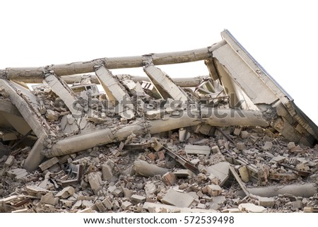 Collapsed industrial building isolated on white background #572539498