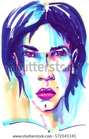 Fashion girl illustration. Hand drawn portrait of a young woman model face. sketch, marker, watercolor. #572545141