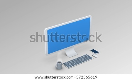 isometric computer illustration. Display / Keyboard / Mouse for use in presentations, education manuals, design, etc 3D illustration