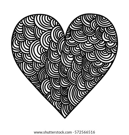 Heart drawn with a doddle art technique - rainbows   #572566516