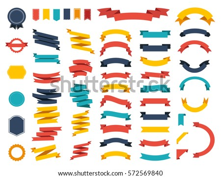 Ribbon vector icon set on white background. Banner isolated shapes illustration of gift and accessory. Christmas sticker and decoration for app and web. Label, badge and borders collection. #572569840