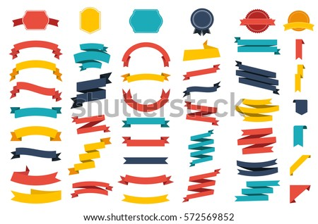 Ribbon vector icon set on white background. Banner isolated shapes illustration of gift and accessory. Christmas sticker and decoration for app and web. Label, badge and borders collection. #572569852