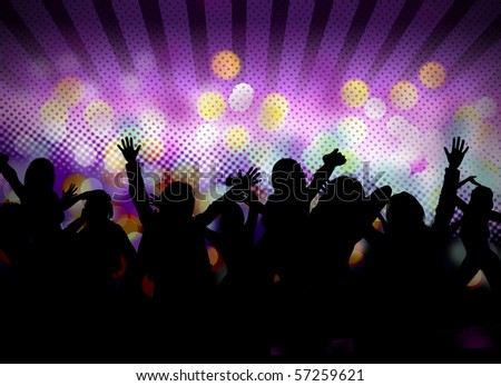 image of club party with people silhouettes dancing #57259621