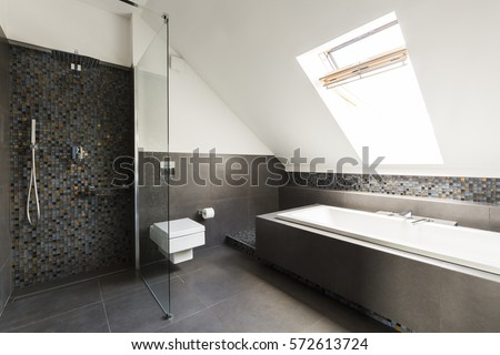 Stylish bathroom with transparent showerstall in the attic #572613724