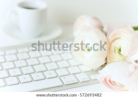 Styled composition with pink ranunculos #572693482