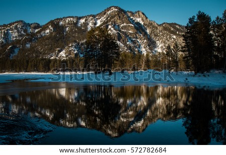 Magnificent views of the mountains with reflection in calm lake background picture #572782684
