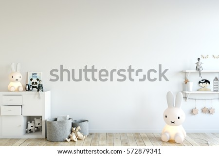 mock up wall in child room interior. Interior scandinavian style. 3d rendering, 3d illustration #572879341