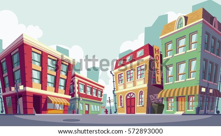 Vector cartoon illustration of the historic urban area Royalty-Free Stock Photo #572893000