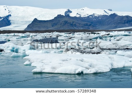 Icebergs which are born from the Vatnajökull glacier go their way to the sea passing Icelands famous Jökulsarlon Bay #57289348
