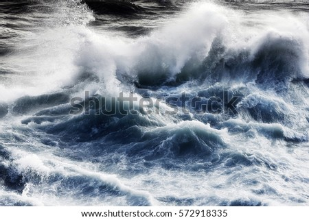 waves in sea ,  atlantic ocean Royalty-Free Stock Photo #572918335