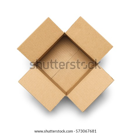 Open Empty Cardboard Box Isolated on White Background. Royalty-Free Stock Photo #573067681