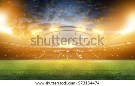 stadium in lights and flashes 3d. Royalty-Free Stock Photo #573154474