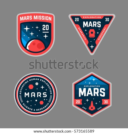 Set of Mars space mission badges and logo emblems Royalty-Free Stock Photo #573165589