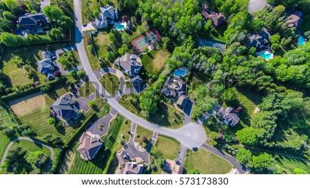 Rural subdivision Aerial top view  #573173830