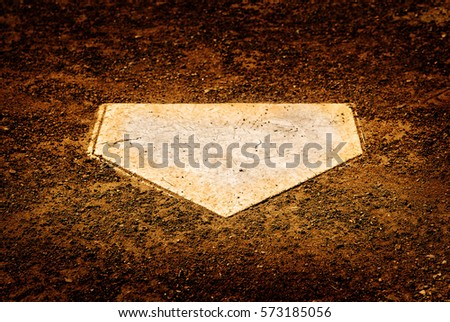 Home plate on baseball diamond for batter to score points Royalty-Free Stock Photo #573185056