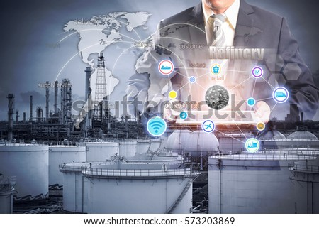 Oil and gas industry - refinery factory - petrochemical plant at #573203869