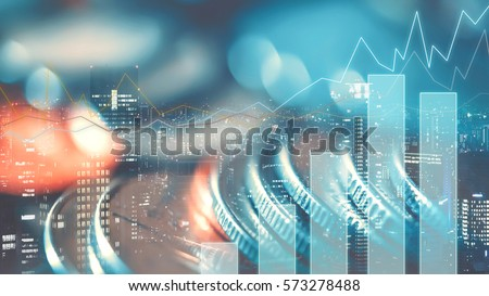 Double exposure of city, graph and rows of coins for finance and business concept Royalty-Free Stock Photo #573278488