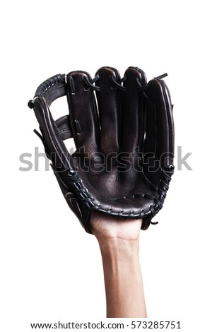 catching baseball with leather baseball glove over white background Royalty-Free Stock Photo #573285751