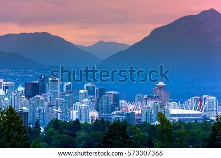 Vancouver city skyline at night, British Columbia, Canada