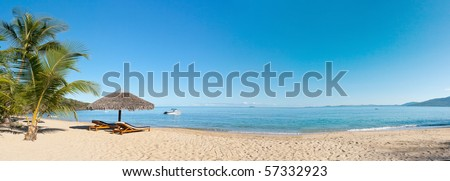 Tropical beach panorama with deckchairs, umbrellas, boats and palm tree #57332923
