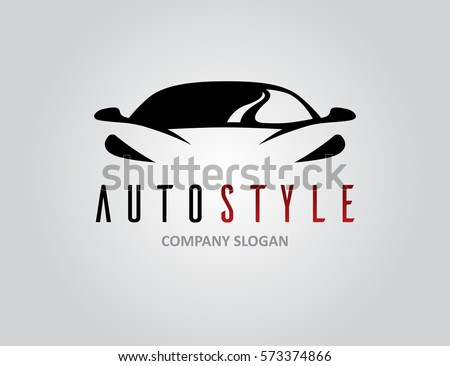 Auto style car logo design with concept sports vehicle icon silhouette on light grey background. Vector illustration. Royalty-Free Stock Photo #573374866