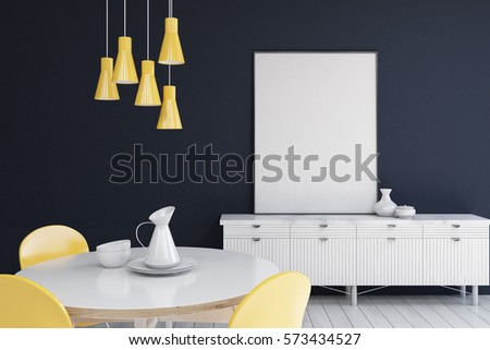Living room interior with dark blue walls, a cabinet with a vertical poster standing on it and a round table. 3d rendering. Mock up.