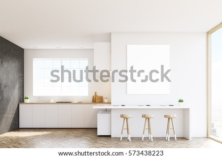 Kitchen with a window, countertops, a table and three stools. Black and white walls. Concept of a comfortable home. 3d rendering. Mock up.