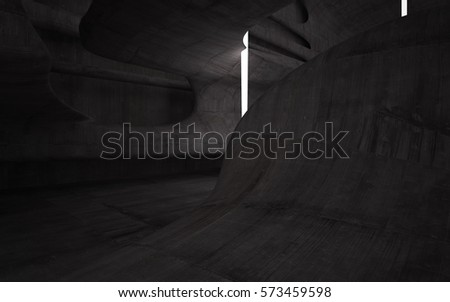 Empty dark abstract concrete room smooth interior. Architectural background. Night view of the illuminated. 3D illustration and rendering #573459598