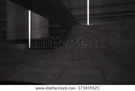 Empty dark abstract concrete room smooth interior. Architectural background. Night view of the illuminated. 3D illustration and rendering #573459625