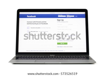 RIGA, LATVIA - February 06, 2017:Login pace for social media giant facebook.com on 12-inch Macbook laptop computer #573526519