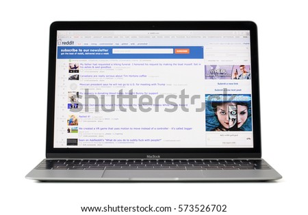 RIGA, LATVIA - February 06, 2017: Social media site reddit.com on 12-inch Macbook laptop computer. #573526702