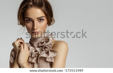Beauty portrait of female face with natural skin #573551989