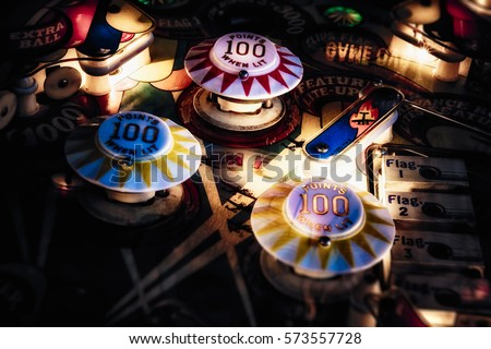 """Detail of vintage pinball table """"Wizard"""" Royalty-Free Stock Photo #573557728"""