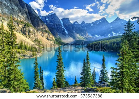 Wenkchemna Peaks Reflection on Moraine Lake, Banff, Rocly Mountain, Canada Royalty-Free Stock Photo #573567388
