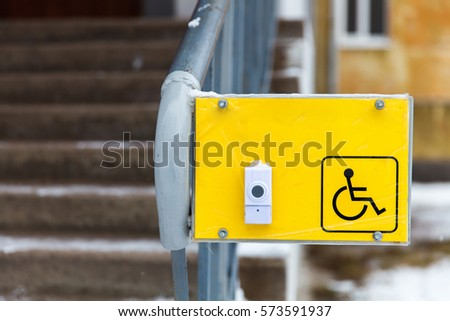 plate with a button help the disabled #573591937