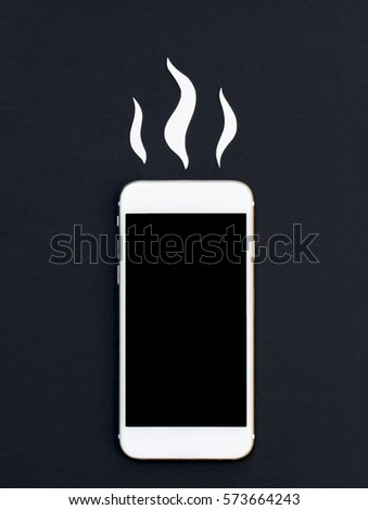 White phone and hot smoke paper cut. Smartphone flat lay mockup. Minimal cellphone banner template with text place. Black screen Iphone top view. Broken phone photo. Hot news or message concept image