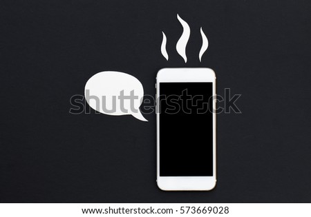 White phone with cartoon text bubble and hot smoke. Smartphone in paper cut collage. Creative cellphone banner template with text place. Black screen Iphone top view. Broken phone. Hot news or message
