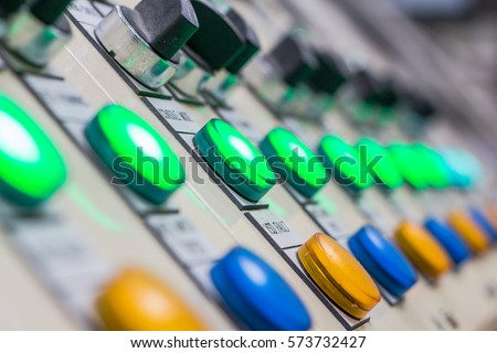 Technical display on control panel with electric devices,light Royalty-Free Stock Photo #573732427
