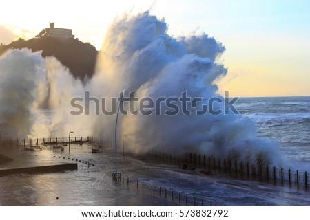Wave in San Sebastian Donostia, Spain